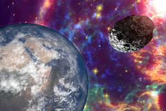 Asteroid approaching to the Earth Stock Illustration