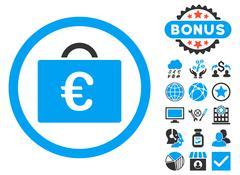 Euro Bookkeeping Case Flat Vector Icon with Bonus Stock Illustration