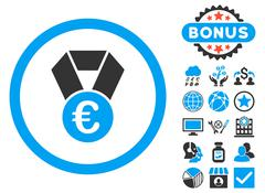 Euro Champion Medal Flat Vector Icon with Bonus Stock Illustration
