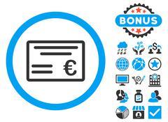 Euro Cheque Flat Vector Icon with Bonus Stock Illustration