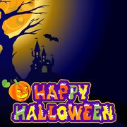 Background with castle, bat, an evil pumpkin and the text Halloween vector Piirros