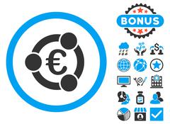 Euro Collaboration Flat Vector Icon with Bonus Stock Illustration