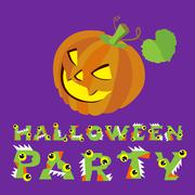 Halloween vector illustration. Creepy pumpkin and letters. Drawing  lettering is Stock Illustration