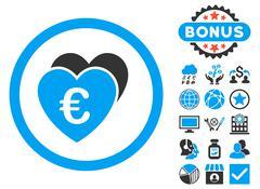 Euro Favorites Flat Vector Icon with Bonus Stock Illustration