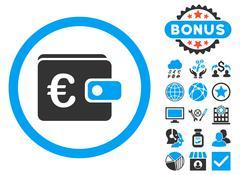Euro Purse Flat Vector Icon with Bonus Stock Illustration