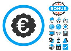 Euro Quality Seal Flat Vector Icon with Bonus Stock Illustration