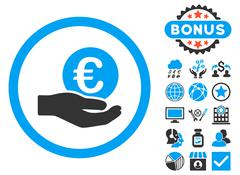 Euro Salary Hand Flat Vector Icon with Bonus Stock Illustration