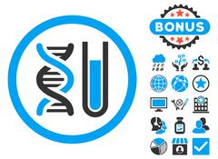 Genetic Analysis Flat Vector Icon with Bonus Stock Illustration