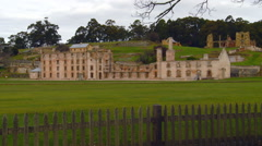 Zoom Out View of Port Arthur Penal Site, Tasmania, Australia Stock Footage