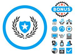 Glory Shield Flat Vector Icon with Bonus Stock Illustration