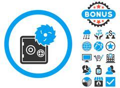 Hacking Theft Flat Vector Icon with Bonus Stock Illustration