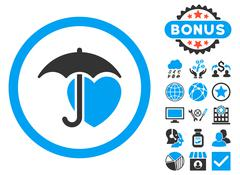 Heart Umbrella Flat Vector Icon with Bonus Stock Illustration