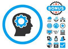 Human Mind Flat Vector Icon with Bonus Stock Illustration