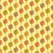 Funny autumn oak leaves seamless pattern Stock Illustration