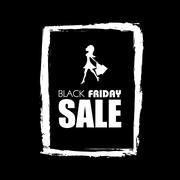 Black friday sale promotional poster with watercolor frame vector background Stock Illustration