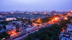 Timelapse of pre dawn to morning from a highrise in Delhi Stock Footage