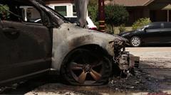 Horrifically Burnt Car Stock Footage