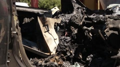 Burnt Car Grisly Details Stock Footage