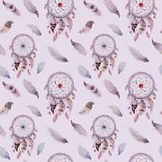 Dreamcatcher and feather pattern. Watercolor bohemian decoration Stock Illustration