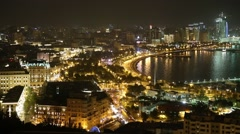 Panorama of night Baku. View from the bird's-eye view Stock Footage