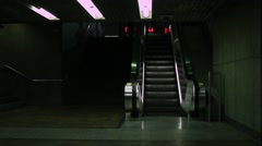 Creepy underground  escalator   Stock Footage