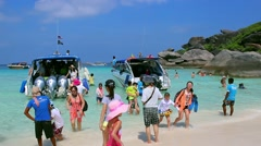 Speed boats are used to transport the tourist, SIMILAN Islands, Thailand Stock Footage
