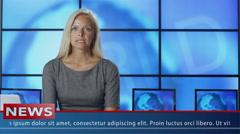 Female News Presenter in Broadcasting Studio Stock Footage