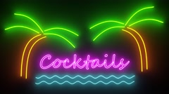 Cocktails neon sign lights logo text glowing disco bar cocktail 4k Stock Footage