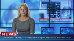 Female News Presenter Speaking about Medicine Stock Footage