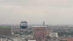 Panoramic shot of lifting up Die Welt hot air balloon in Berlin, Germany. Stock Footage