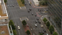 Fast motion Aerial top view shot of Potsdamer strasse in Berlin, Germany. Stock Footage