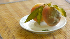 A pair of rotten peaches in the saucer, panorama from left to right Stock Footage