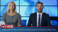 Two News Presenter in Broadcasting Studio Stock Footage
