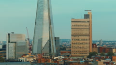 Aerial View of London Southbank including the Shard, UK Stock Footage