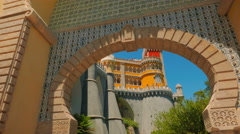POV Cinematic Walk Through the Pena Palace (Palacio da Pena) in Sintra Stock Footage