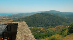 Panoramic POV Shot of the Setubal Peninsula from the Palmela Castle Stock Footage