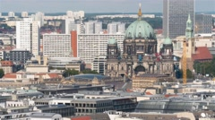 Aerial panoramic shot of Berlin Cathedral (Dom) in Berlin, Germany. Stock Footage
