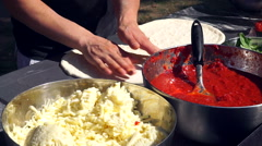 Street Food, Chef Preparing Cheese Pizza Stock Footage