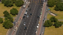 Aerial top view shot of Potsdamer strasse and U-bahn entrance in Berlin Stock Footage