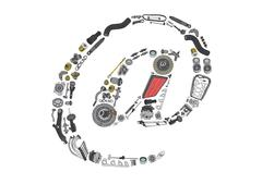 Dogbody or email icone with auto parts for car Stock Illustration