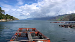 View of fish farm in Tongging by Toba Lake, North Sumatra, Indonesia Stock Footage