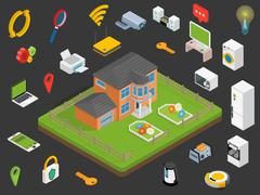 Smart house technology system with centralized control. Stock Illustration