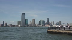 View towards New Jersey & the Battery Park City Esplanade, Manhattan, New York. Stock Footage