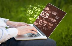 Concept of sending e-mails Stock Photos