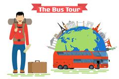 Tourist goes to The Bus Tour of popular familiar landmarks. Stock Illustration