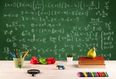 Math class from student school desk Stock Photos