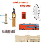 Vector set of the London famous place and landmark Stock Illustration