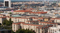 Aerial panoramic shot of mitte, central district of Berlin, Germany. Stock Footage