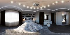3d illustration seamless panorama of bedroom interior design. Stock Illustration