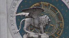 Astronomical clock tower in Signori square, Padua Stock Footage
